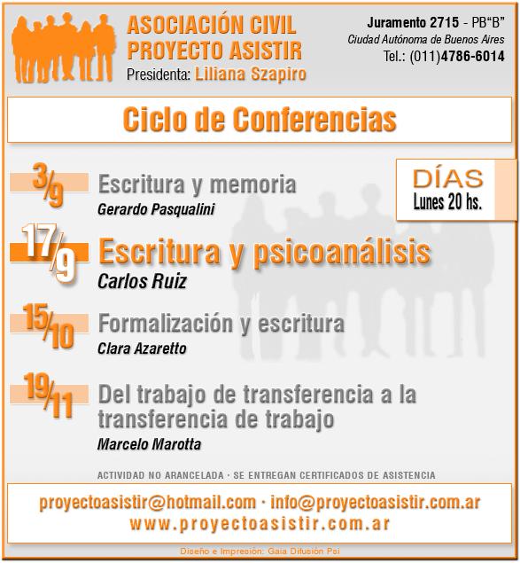 Discurso analítico y escritura. Conf. de Carlos Ruiz